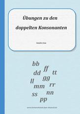 doppelte Konsonanten, Übungen zu doppelte Mitlaute, Übungen zu doppelte Konsonanten, Wörter mit doppelten Konsonanten, Arbeitsblätter für Erwachsenene