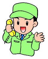 電話で応対する男性スタッフイラスト