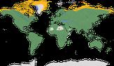 Karte zur Verbreitung der Ordnung der Eulen (Strigiformes)