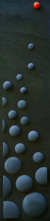 Terre cuite émaillée sur plaque d'acier - Hauteur : 125cm - Largeur : 30cm - Collection Privée (France)