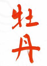 牡丹,半紙手本,望月擁山(俊邦)