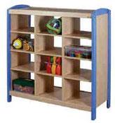 Meuble de rangement à étagères 3 colonnes,mobilier pour petite enfance, assistantes maternelles, RAM à acheter pas cher. Meuble à étagères de rangement de qualité pour les rangements petite enfance.