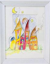 Häuser, Mond, Nacht, bunt, gerahmt, Aquarell, handgemalt von Künstlerin JULIA! Neulinger -Kahl