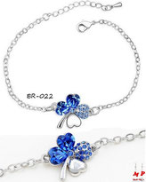 Bracelet argenté trèfle à quatre feuilles bleu
