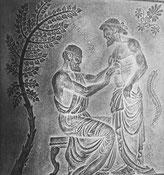 Grabmotiv, Herkunft unbekannt. Berner Hürbin, Hippokrates S. 259