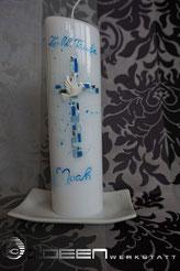 Taufkerze in blau