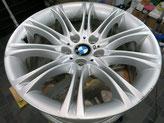 BMW525Mの純正シルバーアルミホイールの、ガリ傷・すりキズのリペア(修理・修復)前ホイール全景写真方向2