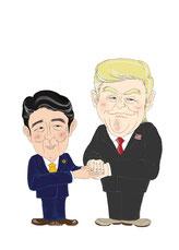 安倍首相とトランプ大統領のイラスト