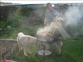 Herrchen am Grillieren