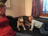 Spielen mit Welpe Tim