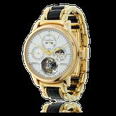Herrenuhr von Jaeger LeCoultre mit einem Uhrenband in Gelbgold mit Leder, speziel angefertigt von der Goldschmiede OBSESSION Zürich und Wetzikon