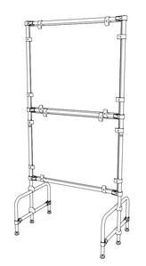Стойка для двух баннеров с информацией, из трубы и металлических соединителей