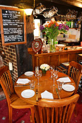 Restaurant tables at the Plume, Crondall