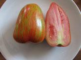 Striped Roman, grün rot gestreifte Früchte. Bild Bio Gärtnerei Kirnstötter