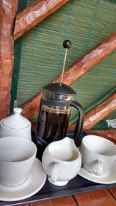 Coffee delivered each morning at the Nhanombe Lodge, Zavora. Dante Harker