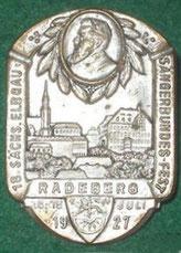 Medaille zum 18. Elbgau-Sängerbundfest 1927 in Radeberg