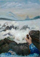 Maria Cornelia Schneider-Marfels: Ich über dem Nebelmeer nach Caspar David Friedrich
