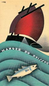 Pierre Péron, Mangez du poisson, 1937, gouache sur papier, collection particulière.© DR.