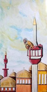 Da steht der Mann in seinem Turm, hoch oben über dem Dorf um im stetigen Ritual die Gläubigen zum Gebet zu rufen