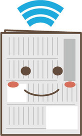 紙と電子媒体の共存イラスト