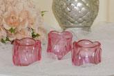 Glas Teelicht Blüte rosa