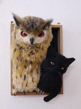 リアル 羊毛フェルト ワシミミズク 猫