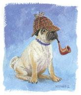 Mops, Sherlock, Pfeife, Gouache, Hund
