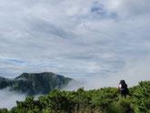 百閒平の中を歩いて進みます。奥に見えるのは聖岳。