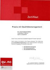 Zertifikat - Dr. Färber - Praxis mit Qualitätsmanagement