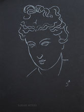 Classical Head Looking Down, line drawing on black by Sarah Myers