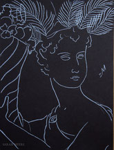 Woman with Plumes and Cornucopia, drawing by Sarah Myers
