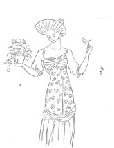 Woman with Flowered Dress, line drawing by Sarah Myers