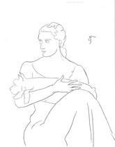 Lady with a Schnauzer, line drawing by Sarah Myers