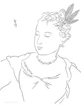 Lady with Feathers and Pearls, line drawing by Sarah Myers