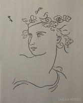 Spring, line drawing by Sarah Myers