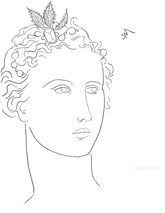 Woman with Jewels in her Hair, line drawing by Sarah Myers