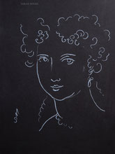 Woman with Ringlets, line drawing by Sarah Myers