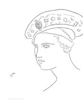 Woman in a Renaissance Hat, line drawing by Sarah Myers
