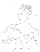 Woman in an Embroidered Vest, line drawing by Sarah Myers