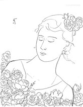 Lady amid Flowers, line drawing by Sarah Myers