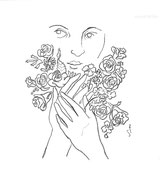 Handful of Flowers, line drawing by Sarah Myers