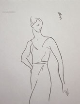 Woman in a Long Dress, line drawing by Sarah Myers