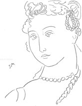 Woman with Braids, line drawing by Sarah Myers