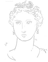 Woman with Wavy Hair, line drawing by Sarah Myers