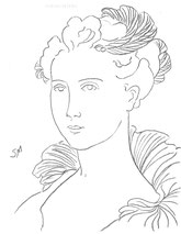 Lady in a Ruff, line drawing by Sarah Myers