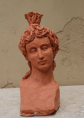 Archaic, Head of a Woman, sculpture by Sarah Myers