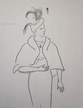 Woman in Wool Cape, line drawing by Sarah Myers