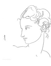 Profile with Pearls, line drawing by Sarah Myers
