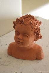 Head of a Child, sculpture by Sarah Myers