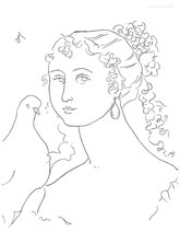 Lady with Curls and a Dove, line drawing by Sarah Myers